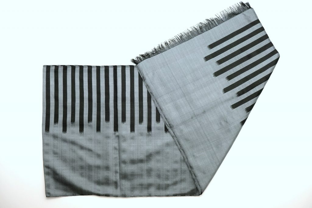Pure Silk Scarf in Grey Color Handmade by Afghan Women Using Natural Dyes