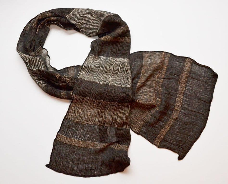 Handgefertigter Kaschmir Schal braune Streifen