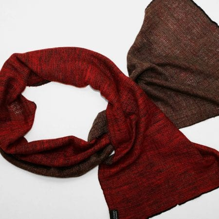 Handgefertigter Kaschmir Schal Rot Braun Natürliche Färbung