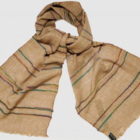 Handgefertigter Kaschmir Schal natürliches Braun