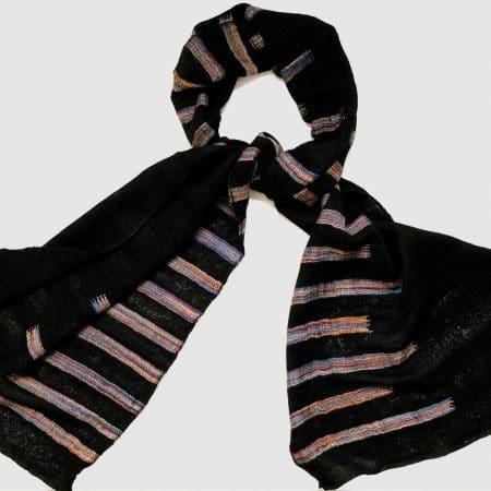 Handgefertigter Kaschmir Schal Schwarz Streifen