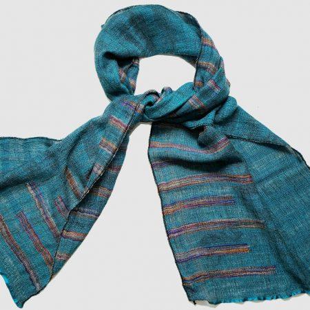Handgefertigter Kaschmir Schal Kobaltblau Naturfarbstoff