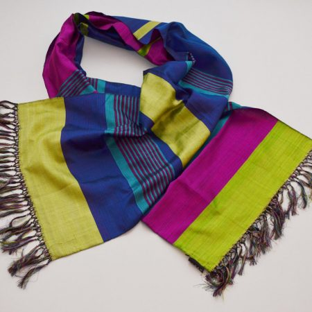 Handmade Silk Scarf Lemon Green Natural Dyes