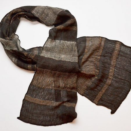 Handmade Cashmere Silk Scarf Brown Shades Natural Dyes