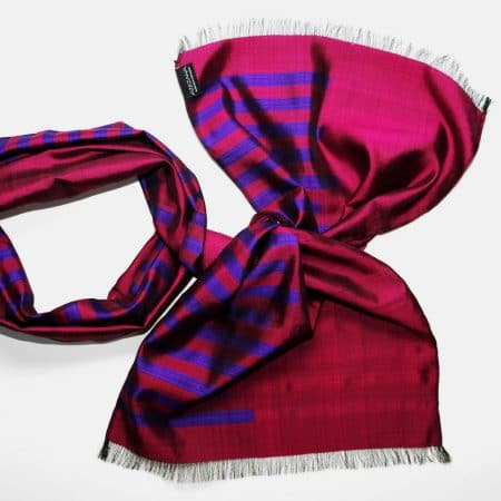 Handmade Silk Scarf Magenta Purple Natural Dyes