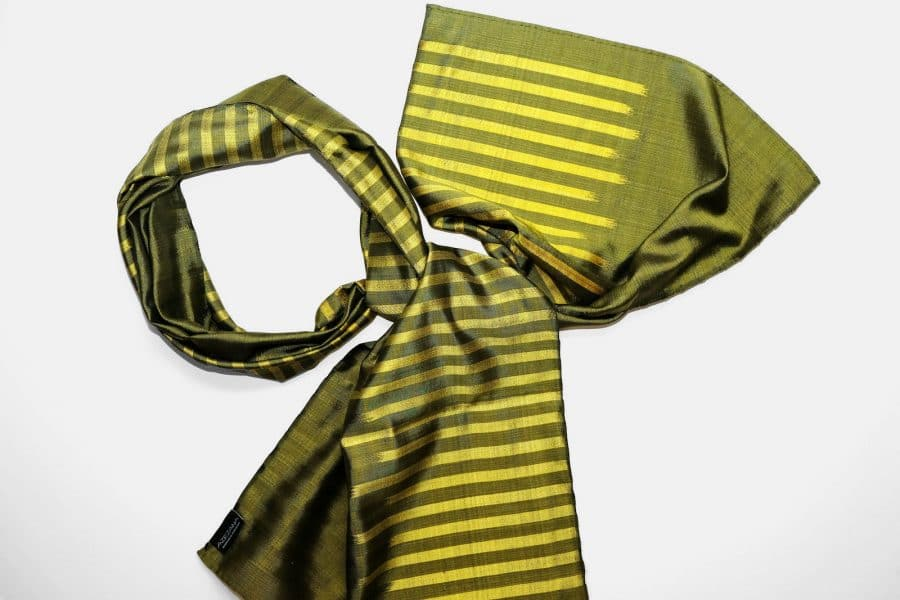 Handmade Silk Scarf Olive Green Natural Dyes