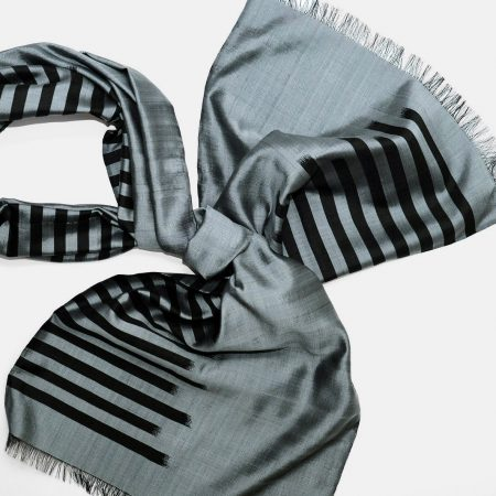 Handmade Silk Scarf Grey Silver Natural Dyes