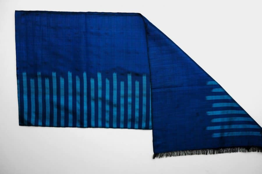 Handmade Silk Scarf Royal Blue Natural Dyes