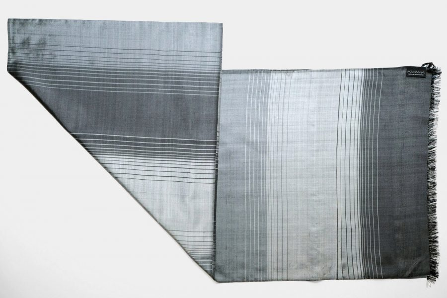 Handmade Silk Scarf Steel Grey Natural Dyes