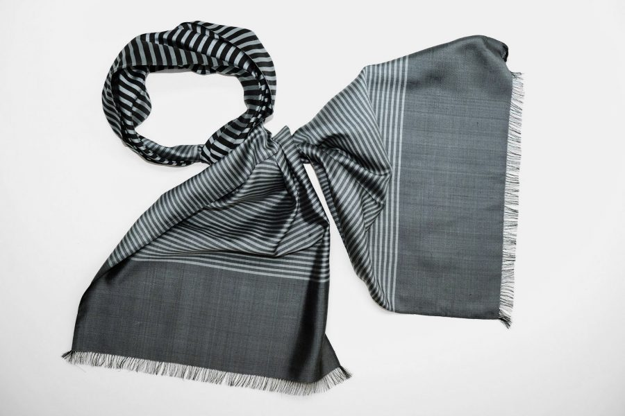 Handmade Silk Scarf Grey Black Natural Dyes