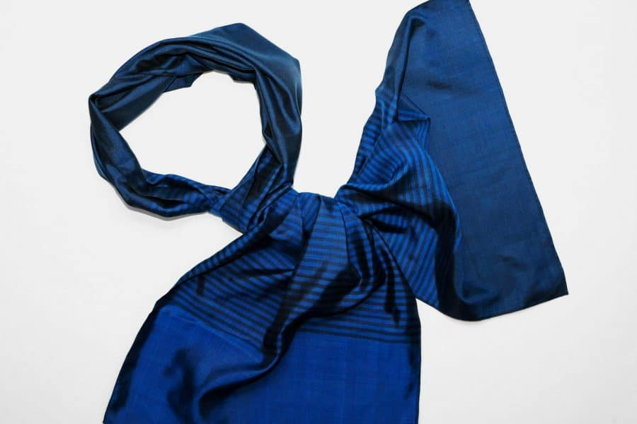 Handmade Silk Scarf Persian Blue Natural Dyes
