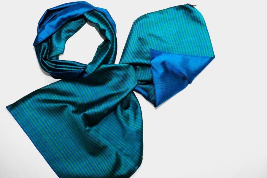 Handmade Silk Scarf Blue Green Natural Dyes