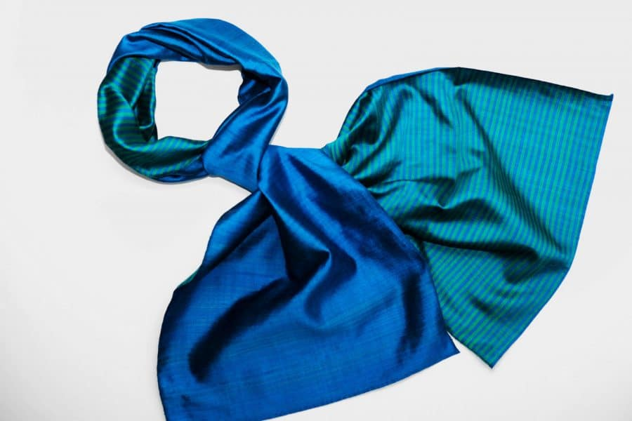 Handmade Silk Scarf Blue Green Natural Dyes