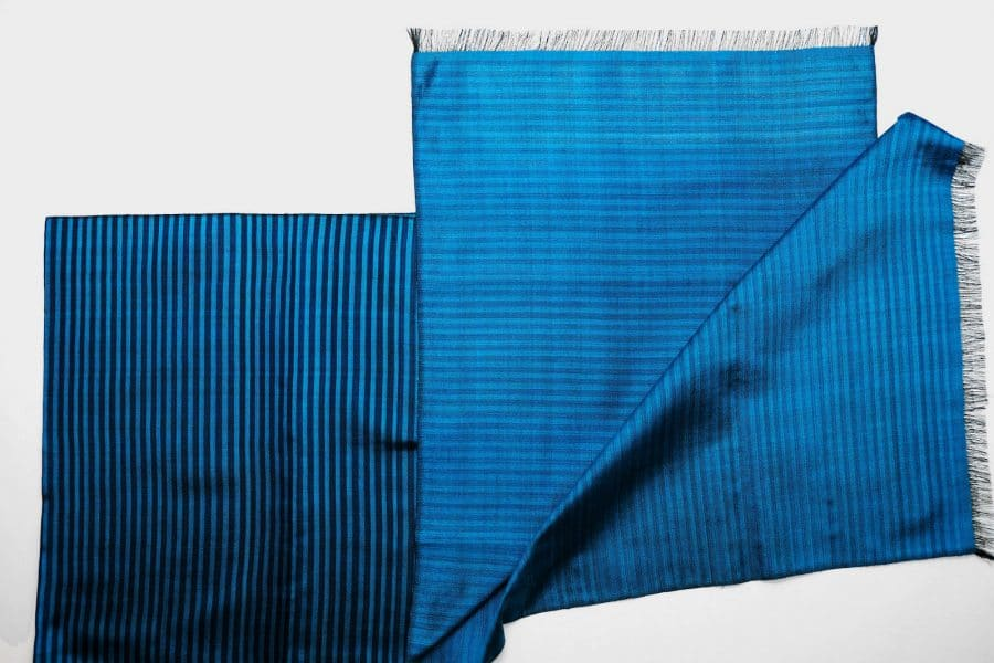Handmade Silk Scarf Azure Blue Natural Dyes