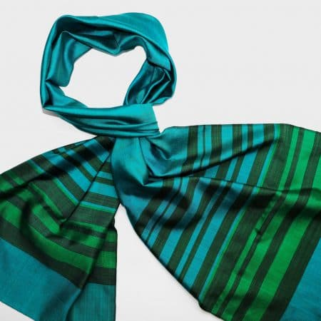 Handmade Silk Scarf in Pine Green with Natural Dyes