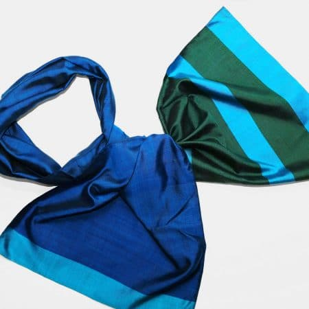 Handmade Silk Scarf Dark Blue Natural Dyes