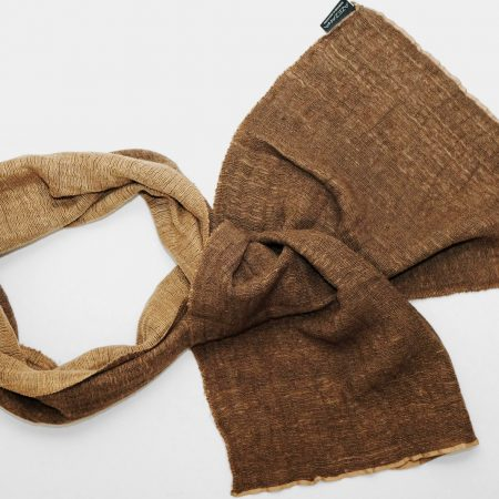Handmade Cashmere-Silk Scarf Camel Brown with Natural Dyes