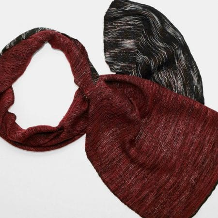 Handmade Cashmere Silk Scarf Black Red Natural Dyes