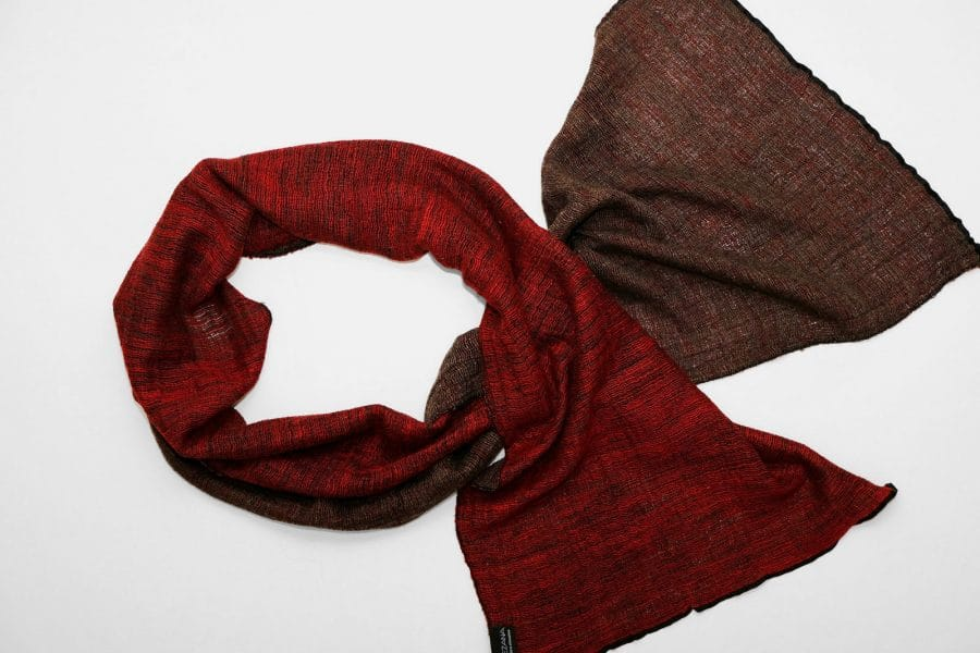 Handmade Cashmere Silk Scarf Red Brown Natural Dyes