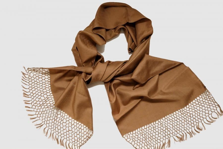 Handmade Pure Silk Scarf Brown Natural Dyes