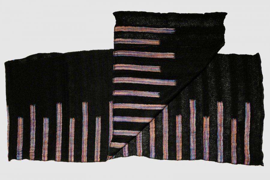 Handmade Cashmere Scarf Black Stripes Natural Dyes