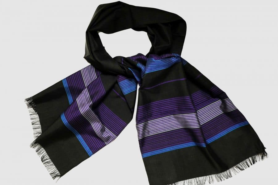 Handmade Silk Scarf Black Violet Natural Dyes