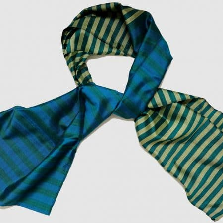 Handmade Silk Scarf Green Blue Gold Natural Dyes