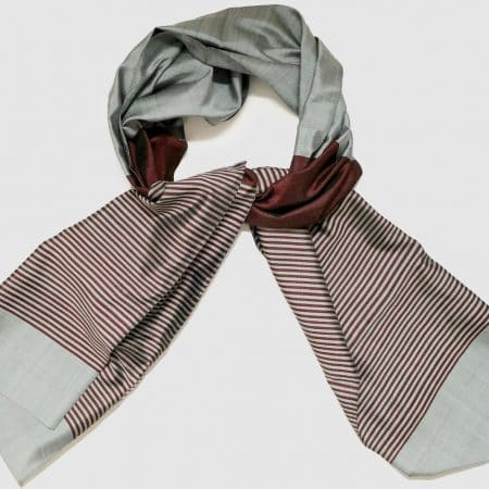 Handmade Silk Scarf Red Grey Natural Dyes