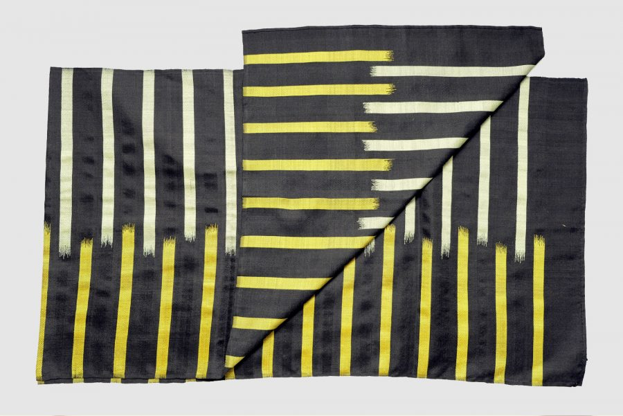 Handmade Silk Scarf Black Yellow Natural Dyes