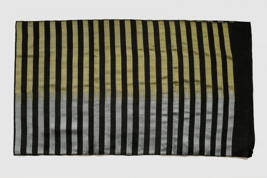 Handmade Silk Scarf Black Silver Gold Natural Dyes