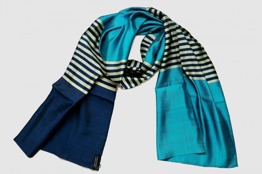 Handmade Silk Scarf Ultramarine Blue Turquoise