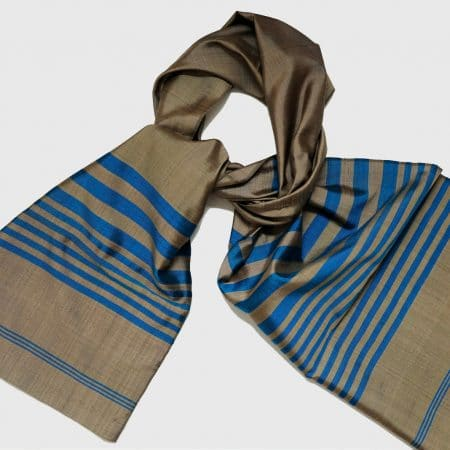 Handmade Silk Scarf Brown and Blue Natural Dyes