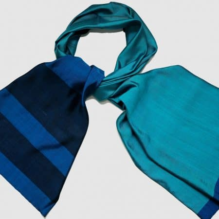 Handmade Silk Scarf Blue Natural Dyes