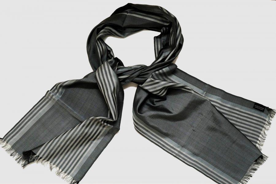 Handmade Silk Scarf Grey Natural Dyes