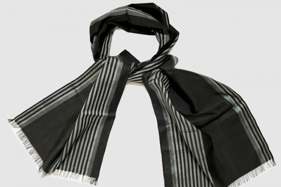 Handmade Silk Scarf Black and Grey Natural Dyes