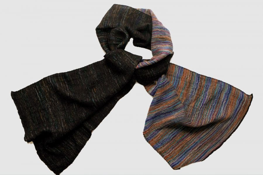 Handmade Cashmere Scarf Black Colourful Natural Dyes