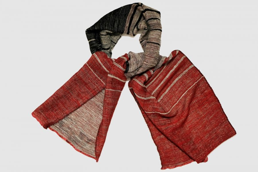 Handmade Cashmere Scarf Red Brown Black Natural Dyes
