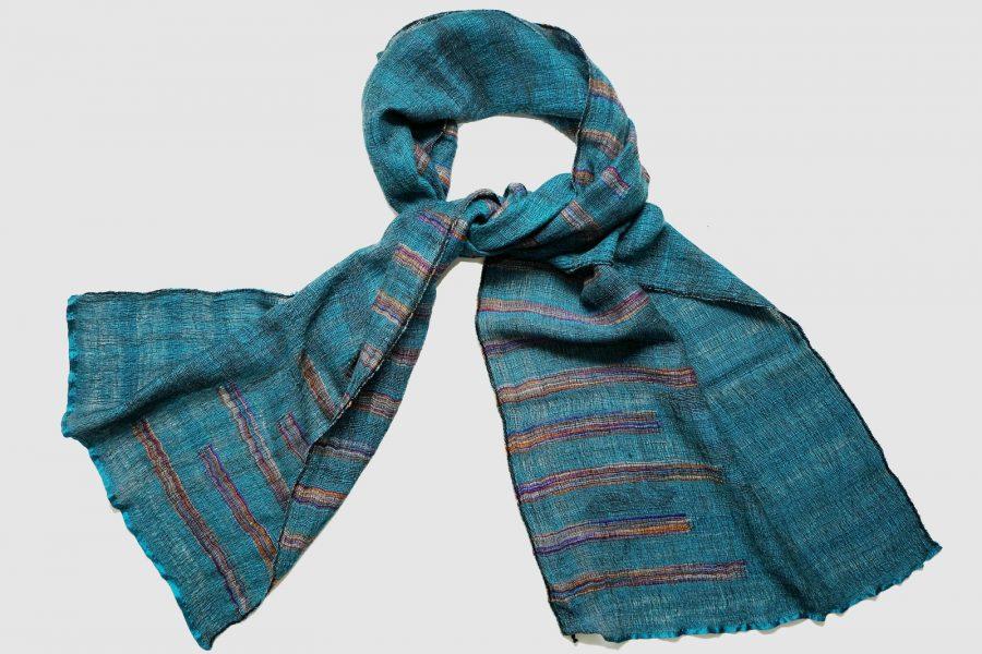 Handmade Cashmere Scarf Cobalt Blue Natural Dyes