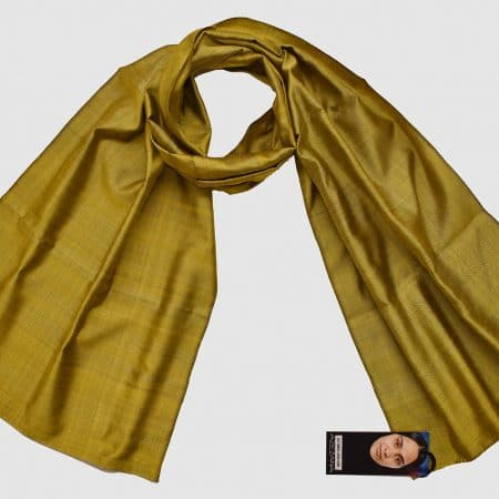 Handmade Pure Silk Scarf Green Yellow Natural Dyes