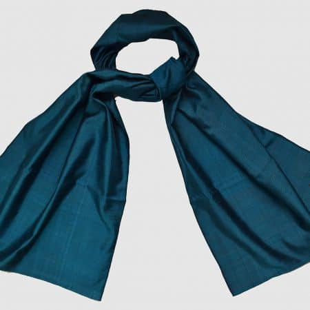Handmade Pure Silk Scarf Blue Natural Dyes
