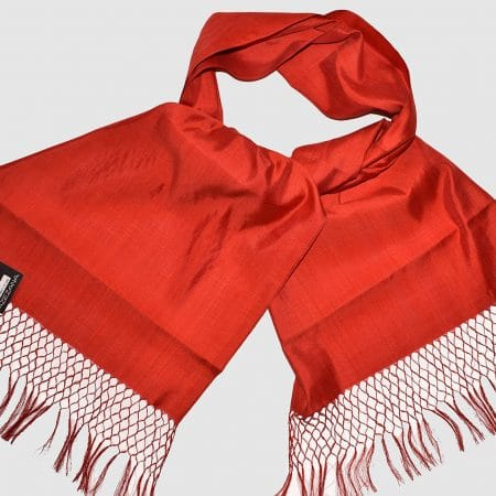 Handmade Pure Silk Scarf Red Natural Dyes