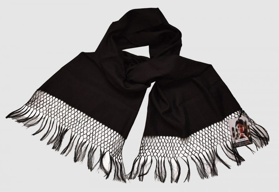 Handmade Pure Silk Scarf Black Natural Dyes