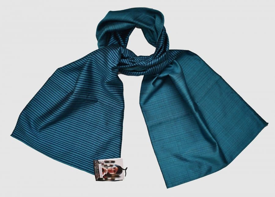 Handmade Silk Scarf Turquiose Blue Natural Dyes