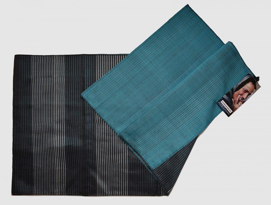 Handmade Silk Scarf Grey Blue Natural Dyes