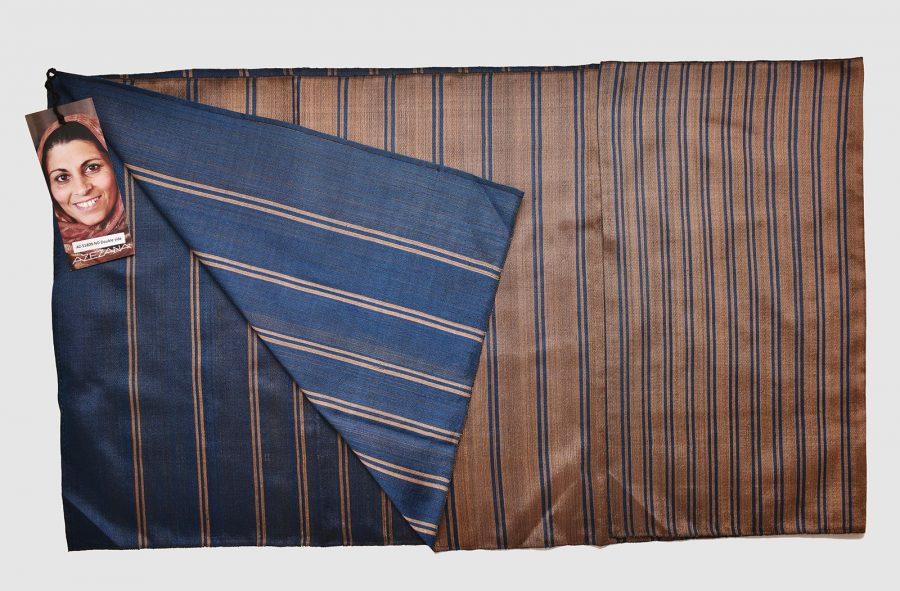 Handmade Silk Scarf Blue Bronze Stripes