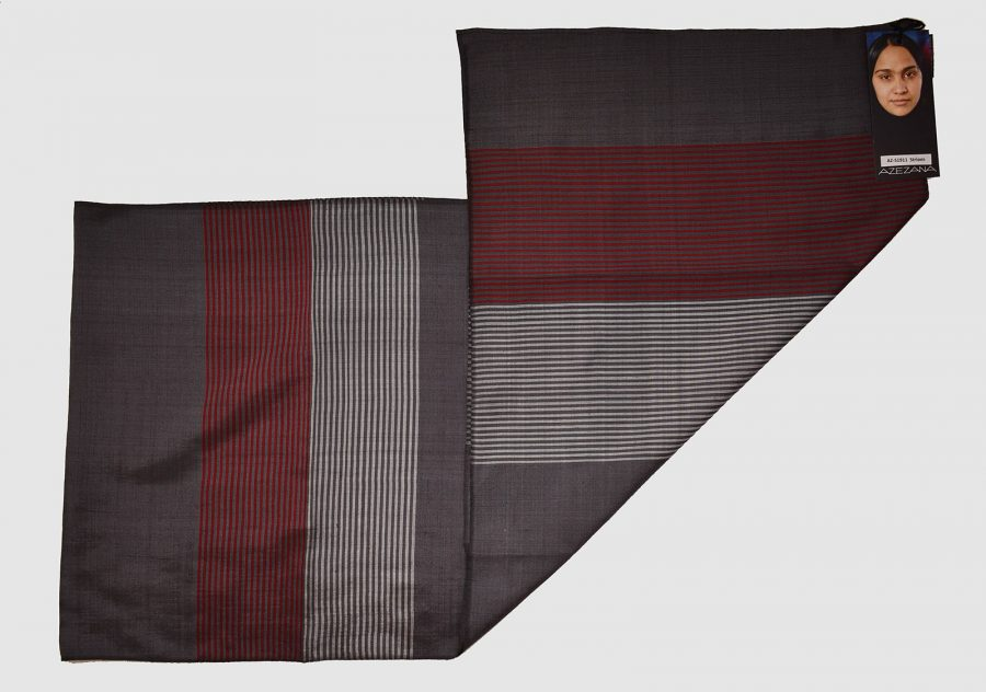 Handmade Silk Scarf Grey Red Natural Dyes