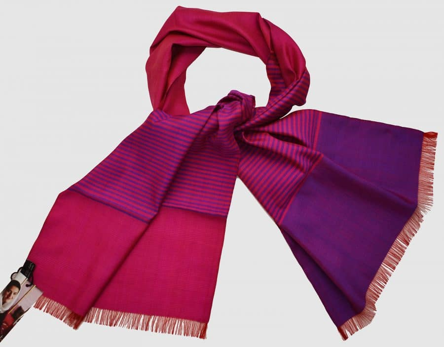 Handmade Silk Scarf Magenta and Purple Natural Dyes
