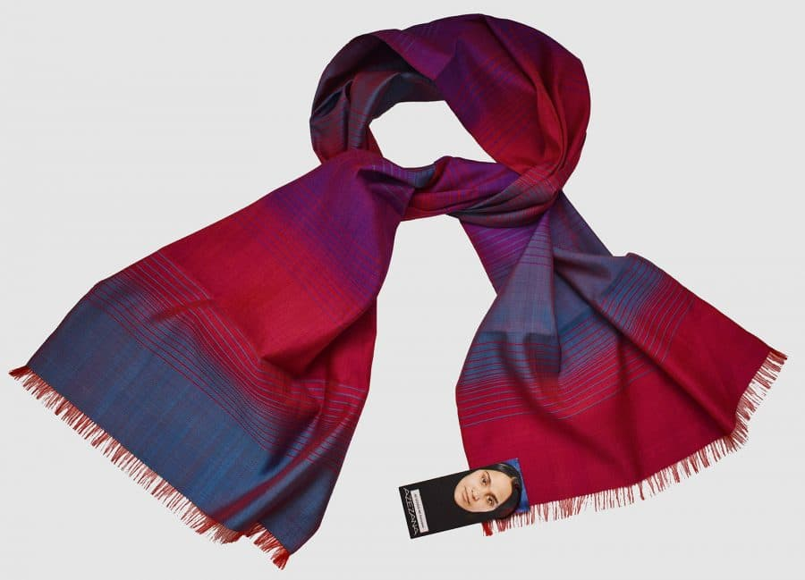 Handmade Silk Scarf Magenta, Purple, Blue Natural Dyes