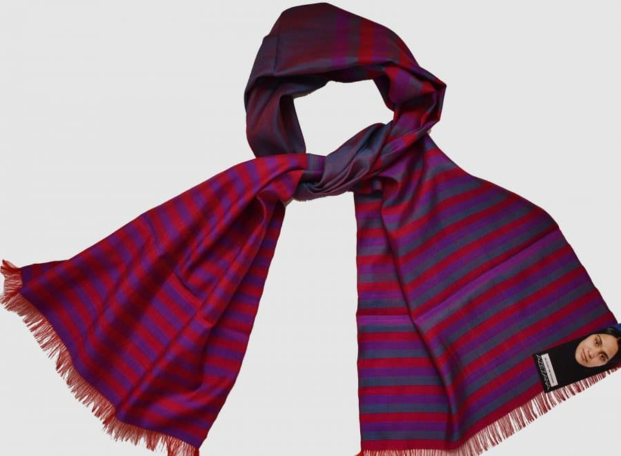 Handmade Silk Scarf Violet Magenta Natural Dyes