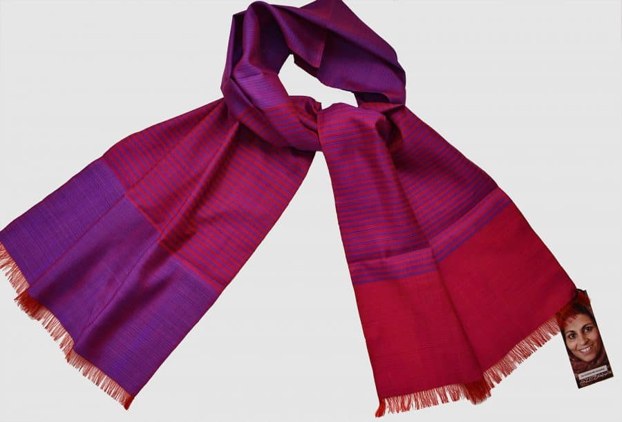 Handmade Silk Scarf Purple and Magenta Natural Dyes